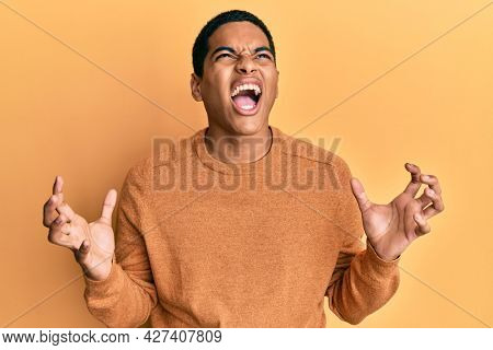 Young handsome hispanic man wearing casual winter sweater crazy and mad shouting and yelling with aggressive expression and arms raised. frustration concept.