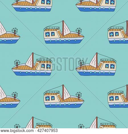 Cute Cartoon Doodle Sailing Yacht Seamless Pattern. Sea Travel Background. Childlike Style Ship.