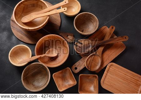 Culinary Background, Empty Ceramic Plates, Wooden Or Bamboo Spoons And Bowls   . Rustic Style. Home