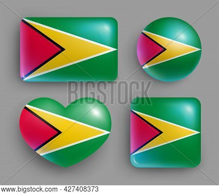 Set Of Glossy Buttons With Guyana Country Flag. South America Country National Flag, Shiny Geometric