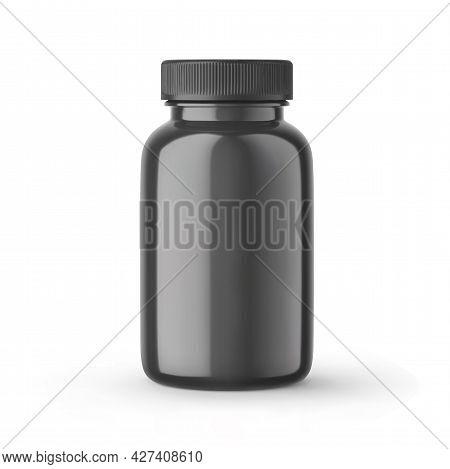 Black Blank Bottle For Medicines With Cap Mockup. Closed Medicine Plastic Jar, Pharmaceutical Produc