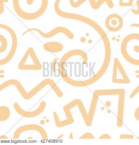 Seamless Abstract Pattern On White Background. Vector Doodle Image. Graphic Geometric Ornament. Line