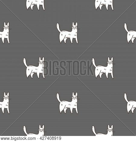 Seamless Pattern With Cute Cartoon Cats On Cray Background. Funny Animals Wallpaper. Vector Doodle K