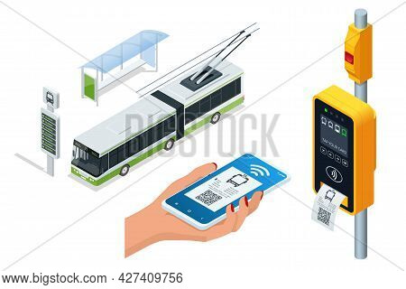 Isometric Electronic Contactless Wireless Payment Via Mobile Phone. Trolleybus Ticket Validator. Wom