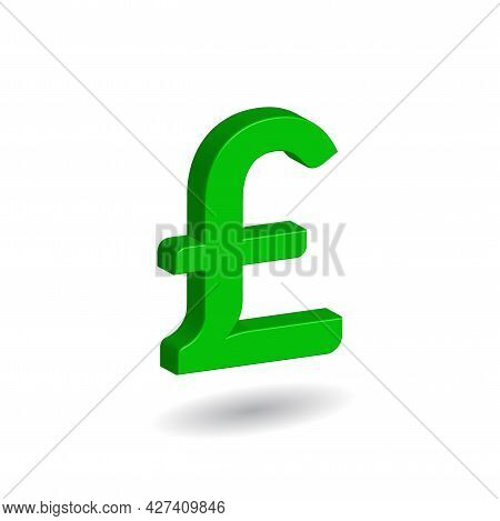 3d Vector Illustration Of Green Pound Sterling Sign Isolated In White Color Background. British, Uni