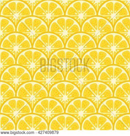 Cute Vector Lemon Seamless Pattern. Cartoon Summer Fresh Fruit Circle Slice, Sliced Lemons Textured