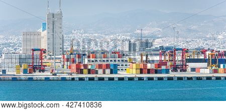 Container Yard With Straddle Carriers And Other Facilities In Cargo Terminal Of Limassol Port, Cypru