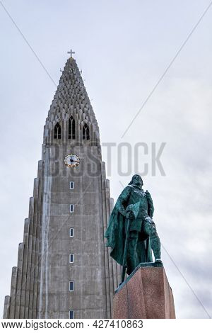 Reykjavik, Iceland - 18th January 2020: Statue of Leif Eriksson, a famous Viking who explored North America, erected in Reykjavik, Iceland in 1932, infront of the Hallgrímskirkja Church.