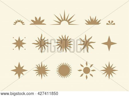 Collection Of Modern Abstract Sun Illustrations In Boho Style. Vector Design Elements For Branding,