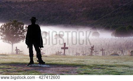 Morning Fog Over Sad Hill Cemetery, Burgos Spain. Tourist Place, Film Location.