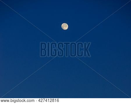 Moon On Dark Blue Sky, Morning Time