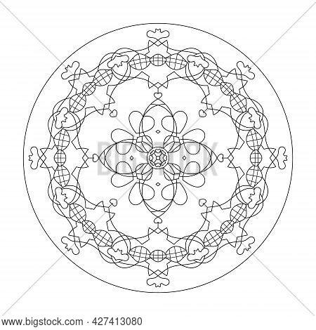 Mandala. Hearts. Anti-stress Coloring Page. Vector Illustration Black And White.