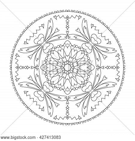 Mandala. Stretched Hearts. Anti-stress Coloring Page. Vector Illustration Black And White.