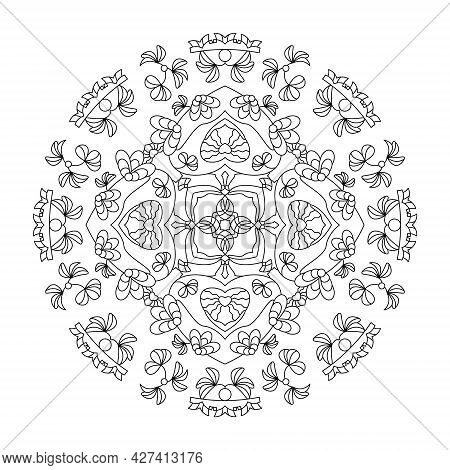 Mandala. Hearts And Leaves. Anti-stress Coloring Page. Vector Illustration Black And White.
