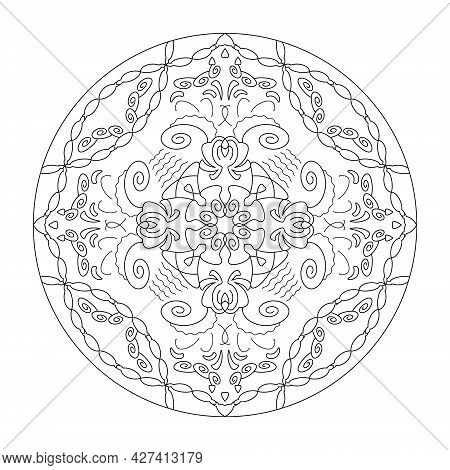 Mandala. Hearts And Spirals. Anti-stress Coloring Page. Vector Illustration Black And White.