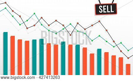 Lined Bear Market Charts, Graphic. Financial And Economic Downtrend. Vector Illustration