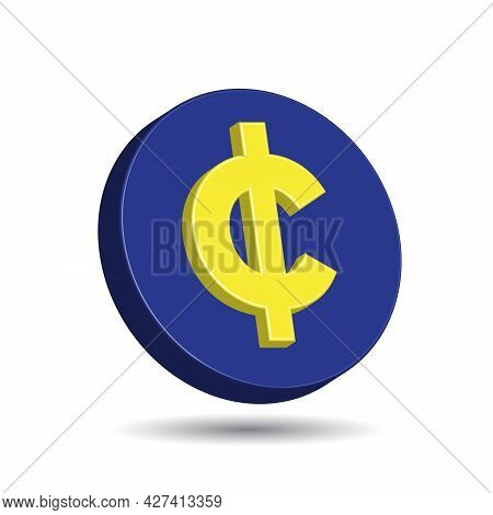 Blue Plastic Coin With Yellow Cent Sign Isolated In White Color Background. Currency Symbol Of Basic