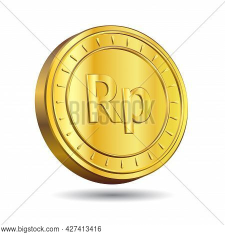 3d Vector Illustration Of Gold Rupiah Coin Isolated On White Color Background. Indonesian Currency S
