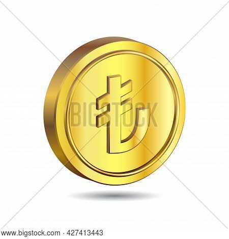 3d Vector Illustration Of Gold Coin With Turkish Lira Sign Isolated On White Color Background.. The