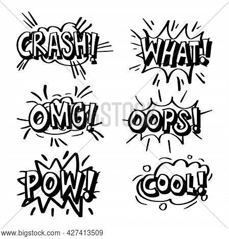 Comic Speech Bubble With Phrase Cool,  Crash, Omg, What, Oops, Pow. Comic Cartoon Sound Bubble Speec