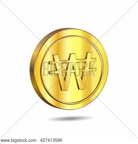3d Vector Illustration Of Gold Coin With Won Sign Isolated On White Color Background.. The Official