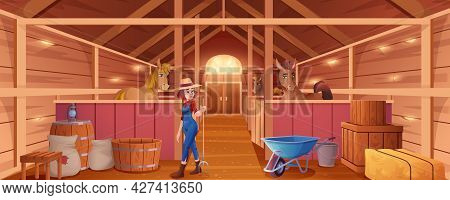 Cartoon Stable With Horses And Woman Stableman. Interior Of Barn Or Countryside Building For Animals