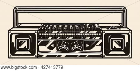 Original Boombox With Buttons And Volume Control In Vintage Monochrome Style Isolated Vector Illustr