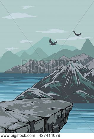 Nature Scenery Colorful Vintage Template With Cliff Flying Birds River And Mountains Landscape Vecto