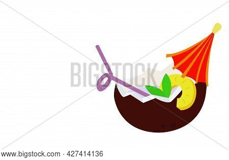 Coconut Cocktail With Straw, Umbrella And Pineapple Slice. Vector Stock Illustration.