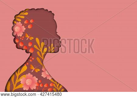 Poster With Woman. African Woman Portrait. Paper Cut Illustration.womens History Month. Women's Day.