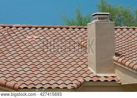 Modern Chimney On Roof Building Air Sky Top Rooftop