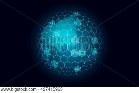 Planet Earth Asia Continent Internet Of Things Icon Innovation Technology Concept. Wireless Communic