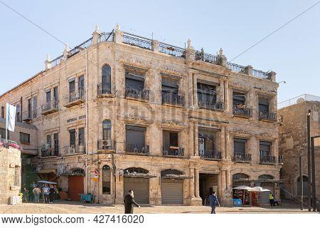 Jerusalem, Israel, July 17, 2021 : The Imperial Hotel Building On The Al Batriarkeya Al Armaneya Str