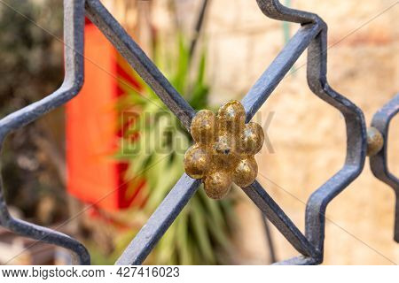 Iron Decorative Flower As A Decoration On The Iron Fence Near The Jaffa Gate In The Old City Of Jeru