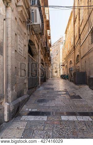 Jerusalem, Israel, July 17, 2021 : The Ha-patriarkhya Ha-yevanit Ha-catholit Street Near The Jaffa G