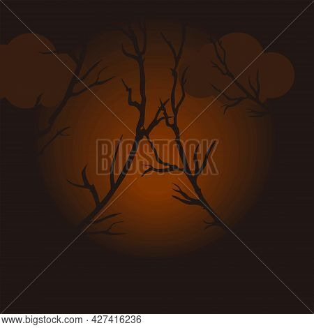 Vector Background For Halloween. Dark Gloomy Background. Template For Cards, Posters, Textiles And O