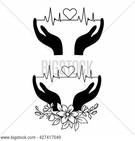 Heart Icon With Sign Heartbeat In Hands. Vector Illustration. Heartbeat Medical Logo In Outline Styl