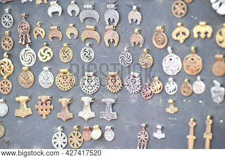 Russia, St. Petersburg 20-07-2018 Medieval Pendants And Pendants For Sale