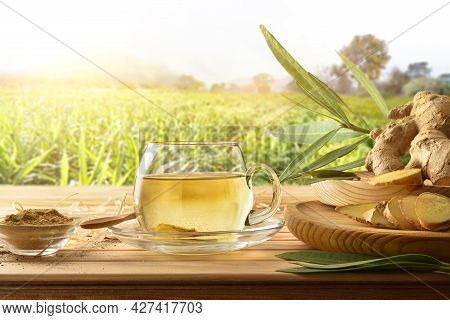 Organic Ginger Infusion On Wooden Table In The Field With Root Ginger Powder, Leaves, Straw And Soil