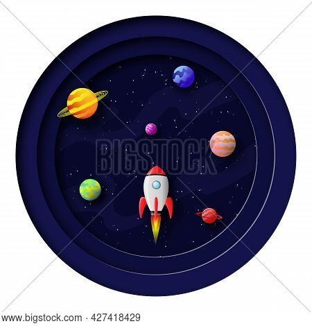 3d Vector Illustration Of Galactic Space In Paper Cut Style. Round Composition With Cartoon Planets