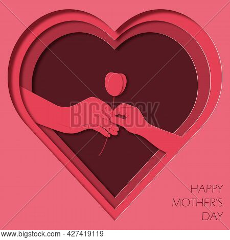 Paper Art And Kraft Style Greeting Card Happy Mother's Day. Children's Hand Gives Flower To Mom. Hea