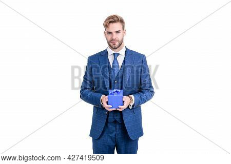 Successful Businessman In Businesslike Suit Hold Gift Box As Business Reward, Occasion Greeting.