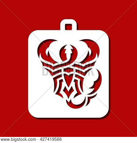 Rectangular Pendant With Abstract Scorpion. Hanging Jewelry Or Home Decor. Template For Plotter Lase