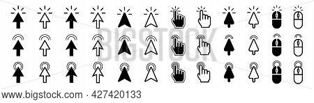 Cursor Pointer Set. Mouse Cursor Collection. Isolated Arrow Pointer. Click And Tap Symbol. Computer