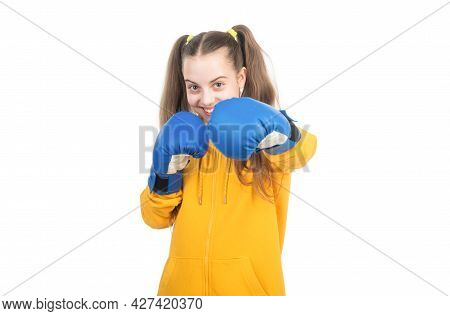 Happy Teen Girl Boxer In Boxing Gloves Ready To Fight And Punch Isolated On White, Punch