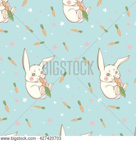 Cute Baby Vector Drawing Hare Eating Carrot On Blue Background With White Stars And Carrots. Cute Bu