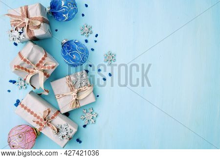Giftbox Pile In Flat Style On Background. Holiday Greeting Card. Xmas Background. Xmas Holiday Gift