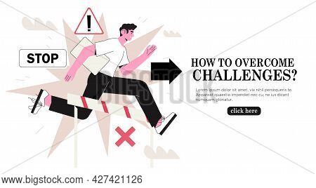 Running Man With Laptop Deal With Obstacles On Way To Success. Concept Of Planned Course, Overcome C