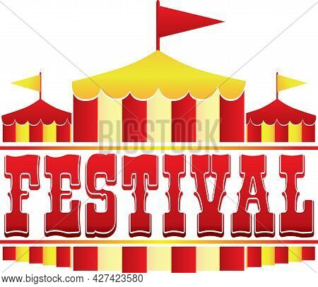 Festival Logo With Red And Gold Yellow Tents