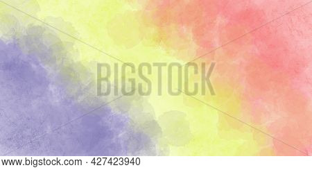 Grunge Watercolor Background Of Three Colors: Pale Yellow, Pale Pink, Pale Purple. Abstract Illustra